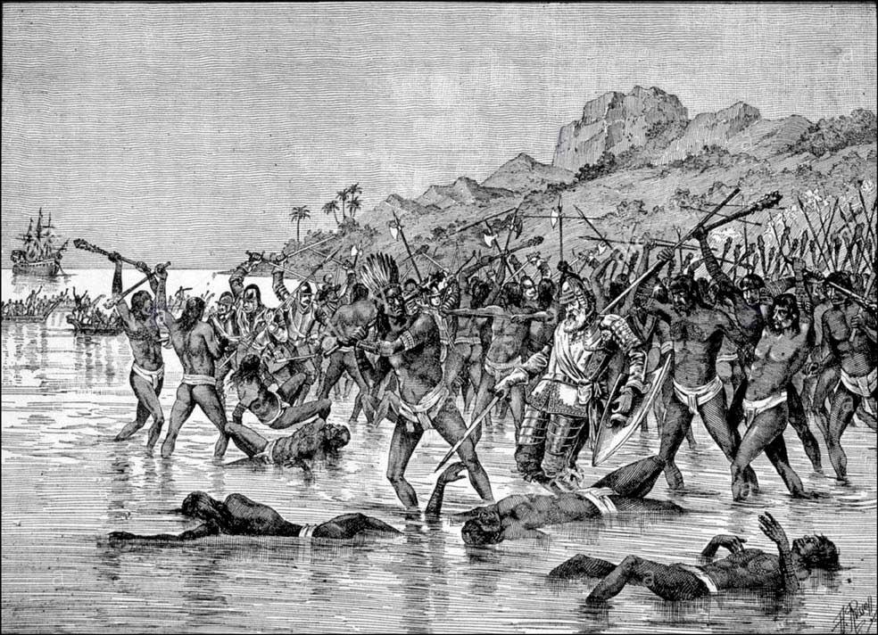 Antiguos grabados con escenas del viaje: sofocación del motín y muerte de Magallanes.